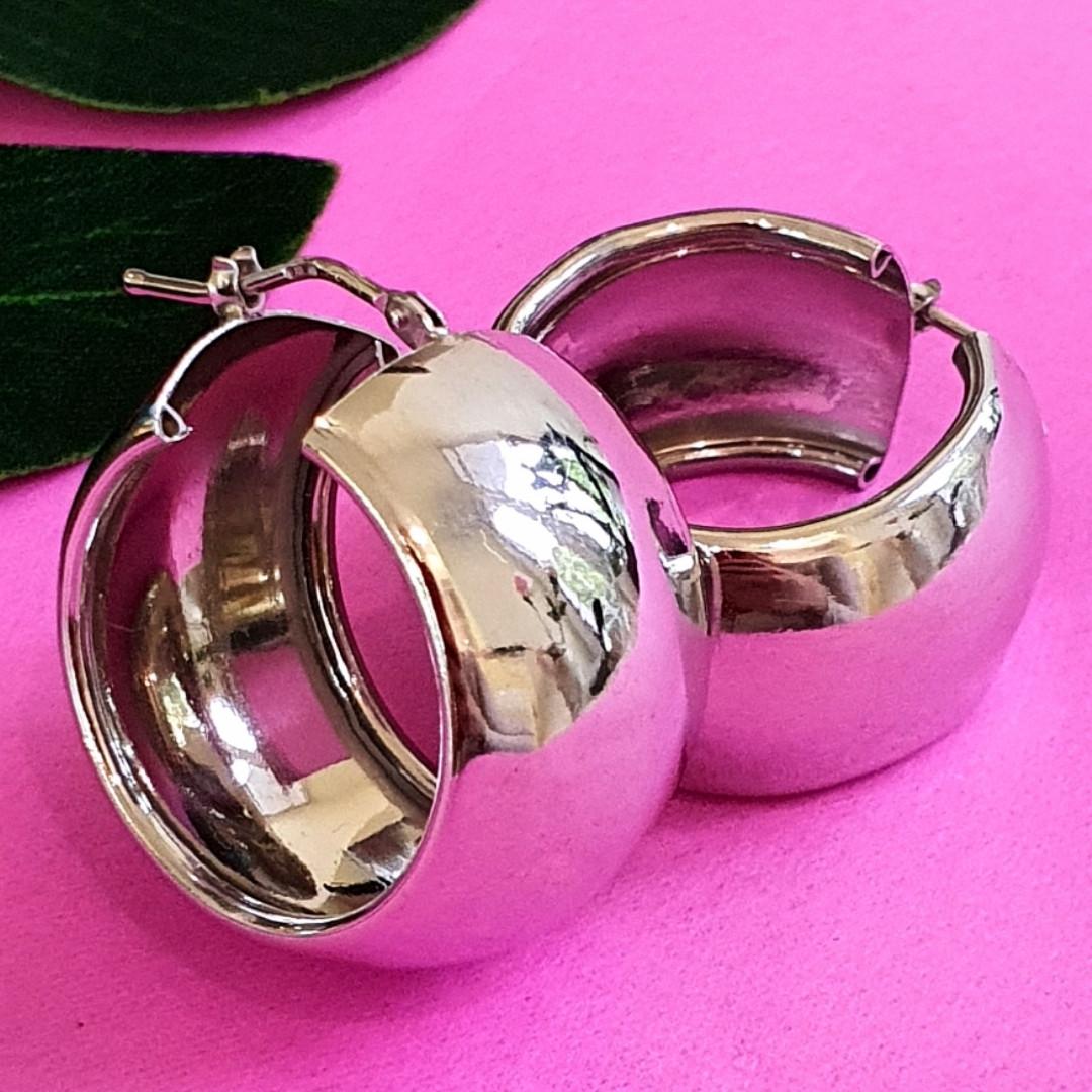 Срібні сережки кільця широкі - Широкі сережки конго срібло - Сережки без каменів срібні