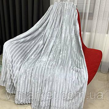 """Плед покрывало серый полоса """"Шарпей"""" евро размер, 200/220 см"""