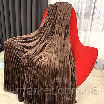 """Плед покрывало шоколад полоса """"Шарпей"""" евро размер, 200/220 см"""