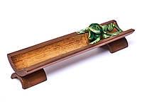 Деревянная подставка лыжа для благовоний Игуана длина 25см