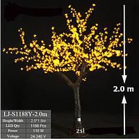 Уличное Светодиодное Дерево 2.0*1.8 метров. Цвет свечения Желтый
