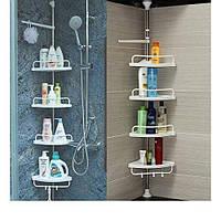 Полка для ванной, телескописческая полка угловая для ванной комнаты, полка на стену в угол
