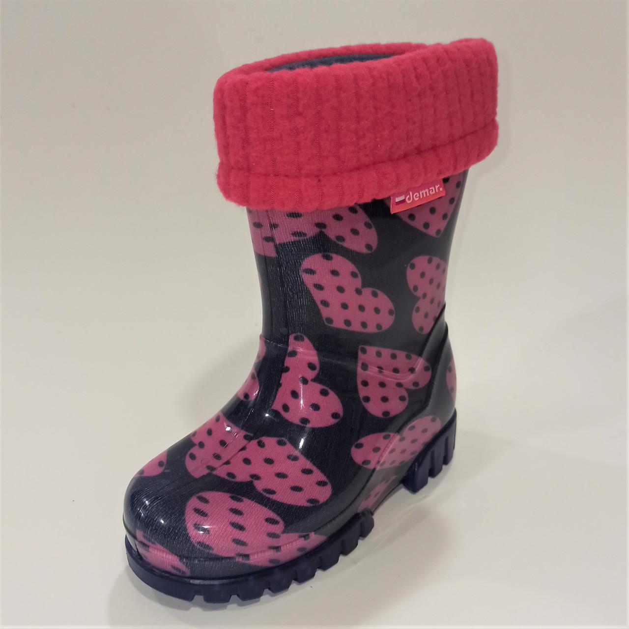 """Дитячі гумові чоботи """"сердечка"""", Demar (код 1244) розміри:"""