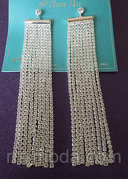 Длинные белые свадебные серьги с белыми камнями оптом из Китая 772
