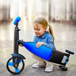 Детский трицикл Kids- Love, беговел, самокат, велосипед. 2 Цвета, телескопическая ручка, съемные педали