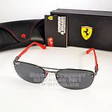 Чоловічі сонцезахисні окуляри Ray Ban Ferrari Rb3617 Scuderia Carbon Рей Бан поляризація Топ репліка, фото 8