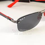 Мужские солнцезащитные очки Ray Ban Ferrari Rb3617 Scuderia Carbon Рей Бан поляризация Топ реплика, фото 3