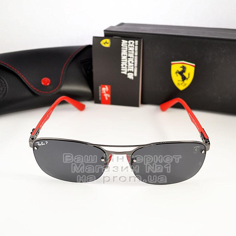 Чоловічі сонцезахисні окуляри Ray Ban Ferrari Rb3617 Scuderia Carbon Рей Бан поляризація Топ репліка