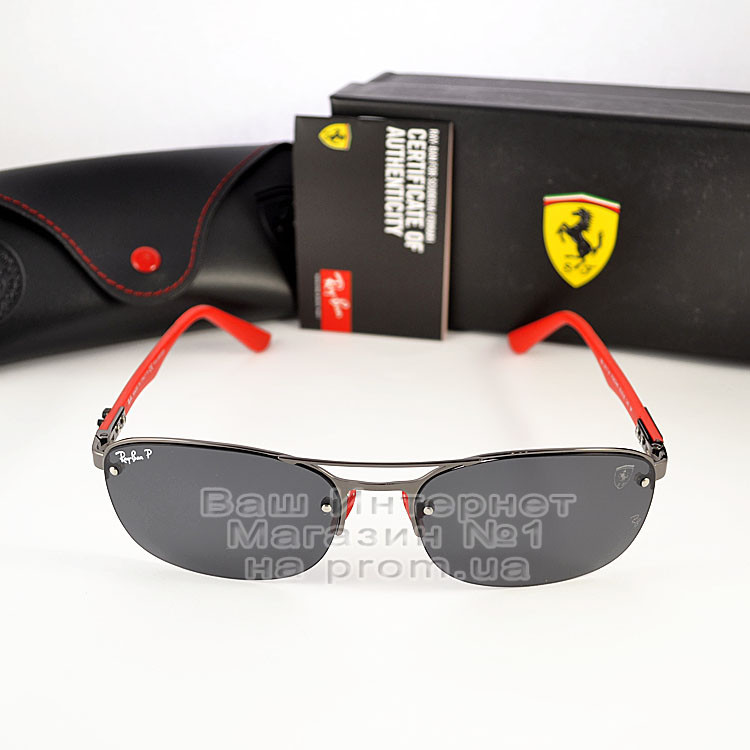 Мужские солнцезащитные очки Ray Ban Ferrari Rb3617 Scuderia Carbon Рей Бан поляризация Топ реплика