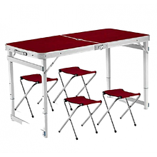 Усиленный стол для пикника раскладной с 4 стульями (Коричневый)
