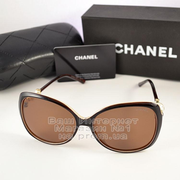 Женские солнцезащитные очки Chanel с поляризацией для водителя Коричневые модные Брендовые Шанель копия