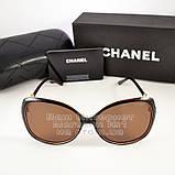 Женские солнцезащитные очки Chanel с поляризацией для водителя Коричневые модные Брендовые Шанель копия, фото 5