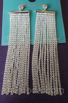 667 Свадебные серьги. Белые длинные серьги-подвески, длинные серьги на выпускной или свадьбу с кристаллами.