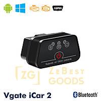 Автосканер Vgate iCar2 OBD 2 ELM327 OBD2 Bluetooth 3.0 (чорний), фото 1