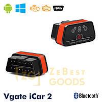 Автосканер Vgate iCar2 OBD 2 ELM327 OBD2 Bluetooth 3.0 (оранжовий), фото 1
