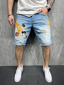 Синие мужские джинсовые шорты Lakers