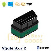 Автосканер Vgate iCar2 OBD 2 ELM327 OBD2 Bluetooth 3.0 (зелений), фото 1