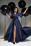 Вечернее женское темно-синее платье в пол с коротким рукавом из шелка Армани