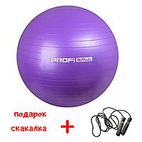 Мяч шар для фитнеса йоги фитбол гимнастический гладкий без пупырышков 65 см (Фиолетовый)