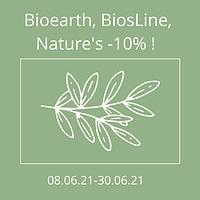 Акція! Знижка -10% на весь асортимент ТМ Bioearth, BiosLine, nature's!