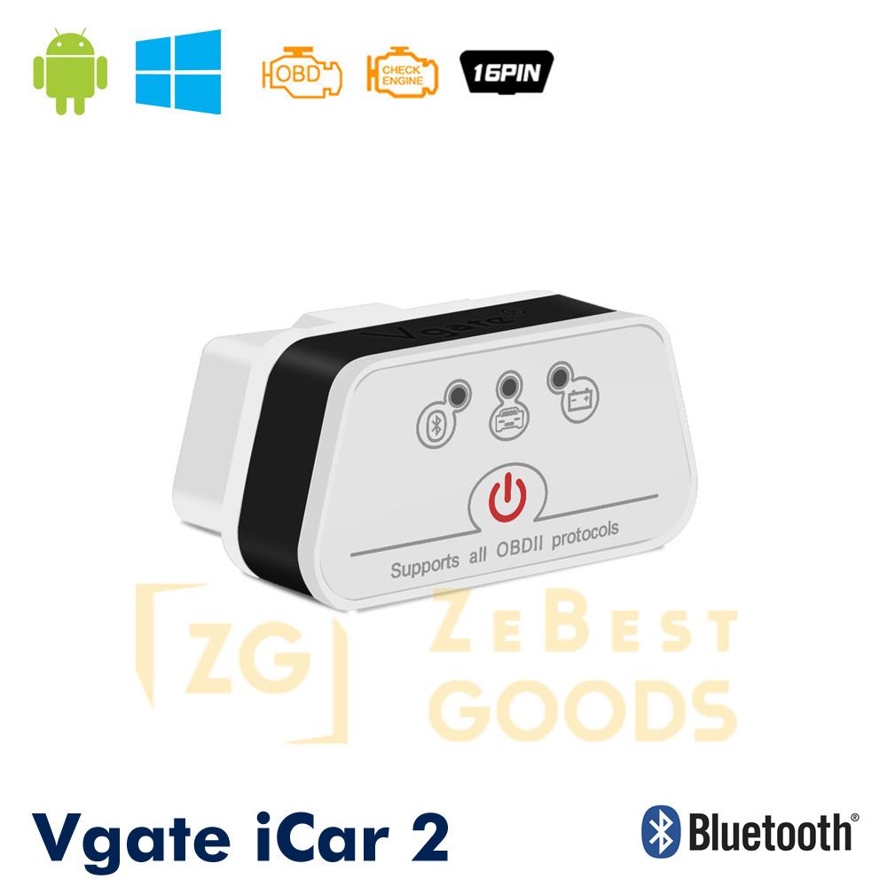 Автосканер Vgate iCar2 OBD 2 ELM327 OBD2 Bluetooth 3.0 (білий/чорний)