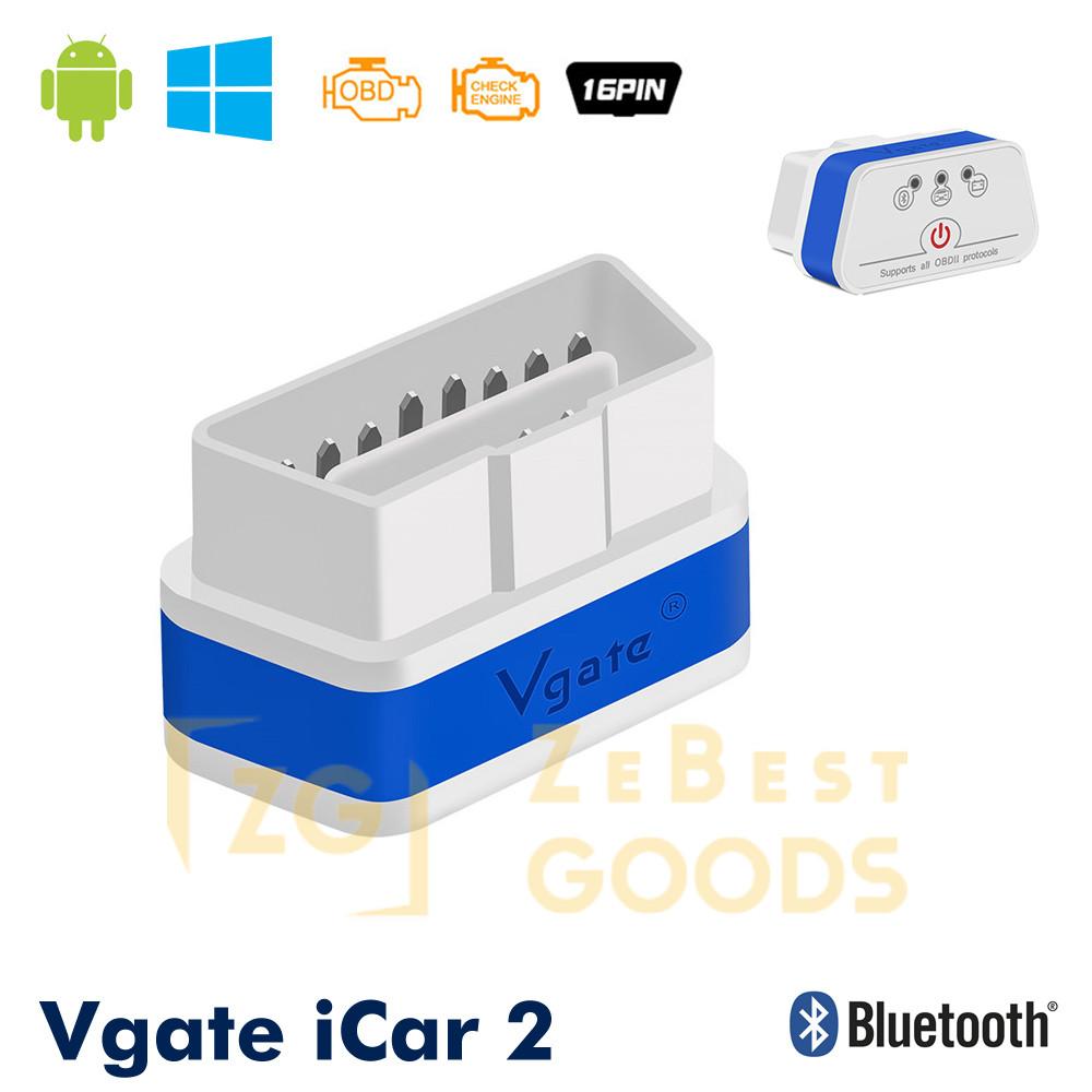 Автосканер Vgate iCar2 OBD 2 ELM327 OBD2 Bluetooth 3.0 (білий/синій)