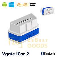 Автосканер Vgate iCar2 OBD 2 ELM327 OBD2 Bluetooth 3.0 (білий/синій), фото 1