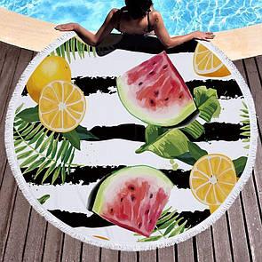 """Красиве кругле покривало на пляж на морі пляжний килимок """"Тропік"""", пляжний рушник кругле, 150 см"""