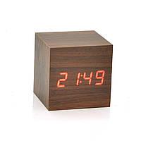 Электронные квадратные часы с будильником, деревянные, бежевые