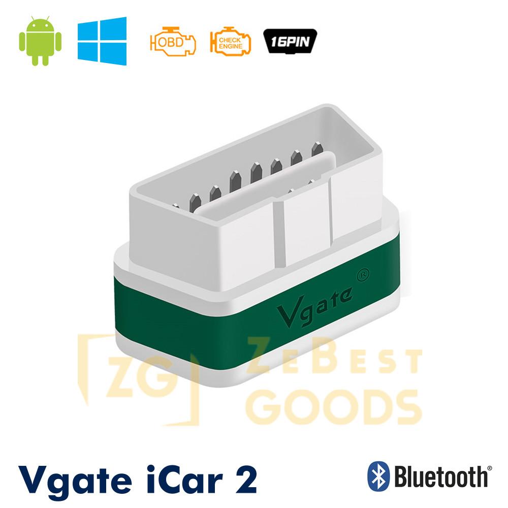 Автосканер Vgate iCar2 OBD 2 ELM327 OBD2 Bluetooth 3.0 (білий/зелений)