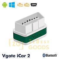 Автосканер Vgate iCar2 OBD 2 ELM327 OBD2 Bluetooth 3.0 (білий/зелений), фото 1