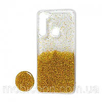 Чехол силиконовый блёстки + popsoket gold Realme 6 pro
