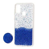 Чехол силиконовый блёстки + popsoket blue Realme 6 pro