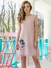 Шифоновое платье со шлейфом розовое