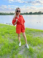 Льняной костюм шорты и рубашка с коротким рукавом оранжевый L