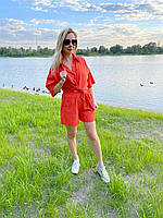 Льняной костюм шорты и рубашка с коротким рукавом оранжевый XL