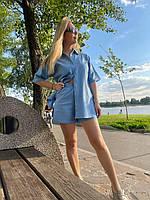 Льняной костюм шорты и рубашка с коротким рукавом голубой XL