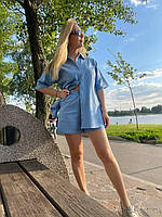 Льняной костюм шорты и рубашка с коротким рукавом голубой M
