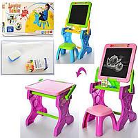 Детский мольберт YM883-884 2в1 досточка для рисования, столик, стульчик, мел, губка, в коробке
