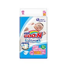 Подгузники GOO.N для маловесных новорожденных 1,8-3,5 кг (р. SSS, на липучках, унисекс, 36 шт) 853887