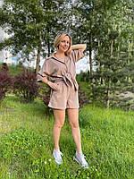 Льняной костюм шорты и рубашка с коротким рукавом горчица XL