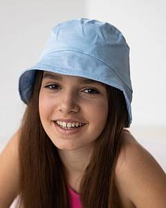 Панамка на літо для дівчинки однотонна блакитна оптом - Артикул 2021