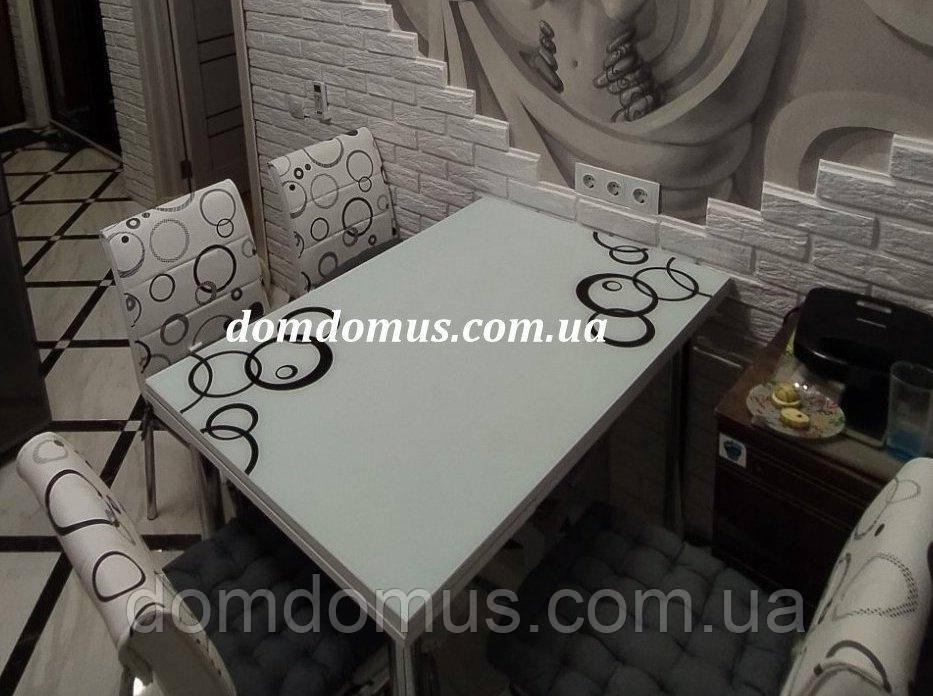 """Комплект кухонних меблів """"Elips"""" (стіл ДСП 90*60 см, гартоване скло + 4 стільця) Mobilgen, Туреччина"""