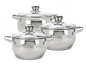 Набір посуду Edenberg з 6 предметів Сріблястий КОД: EB-1118