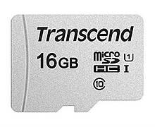 Карта памяти MicroSDHC 16GB UHS-I Class 10 Transcend 300S + SD-adapter TS16GUSD300S-A, КОД: 2360348