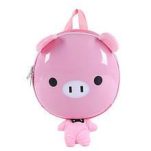 Дитячий рюкзак рюкзачок з твердим корпусом Funny Animals 2020 Свинка з ремінцем анти-потеряшкой