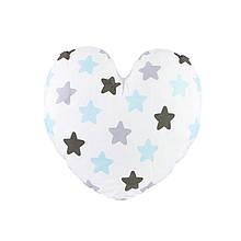 Компактна дитяча бавовняна подушка AYBB-002 Серце в зірочку 40*40см в ліжечко новонародженим