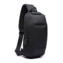 Lb Однолямочный рюкзак на одно плечо Ozuko 9223 Black мужской городской с ЮСБ портом анти-вор с замком