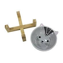 Миска поїлка годівниця для котів і собак Taotaopets 115505 Кіт керамічна на дерев'яній підставці