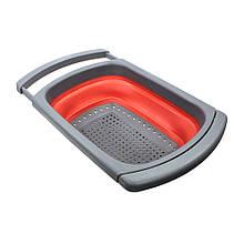Lb Дуршлаг силиконовый Cumenss Red с выдвижными ручками складной 390/260 мм для мытья овощей и фруктов
